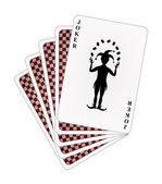 Playing cards – red back side and joker — Stock Vector