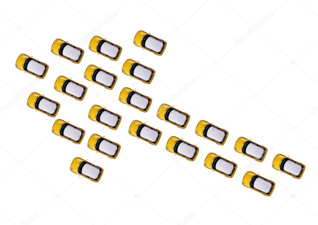 Toy cars positioned as arrow isolated on white background — Stock Photo #10271324
