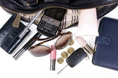 Content of Women's handbag — Stock Photo