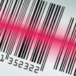 Stock Vector: Barcode with red laser beam