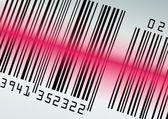 Barcode with red laser beam — Stock Vector