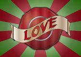Love badge — Vettoriale Stock