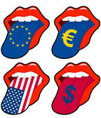Europe and usa mouth — Stock Vector