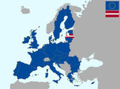 Letónia na Europa — Vetor de Stock