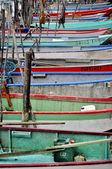 Fishing boats moored at the pier — Stock Photo