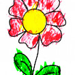 Stock Photo: Flower drawn by child