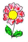 Fiore disegnata da un bambino — Foto Stock