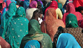 Indian colorful women in sari — Stock Photo