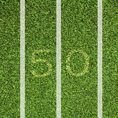 View top of 50 yard line — Stock Photo
