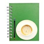 gröna notebook — Stockfoto