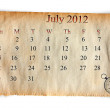 Calendar 2012, July — Stock Photo #9758881