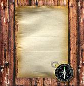 Kompas met vintage papier — Stockfoto
