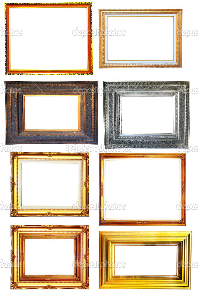 Set of 8 vintage photo wood frame on white background — Stock Photo #9827545