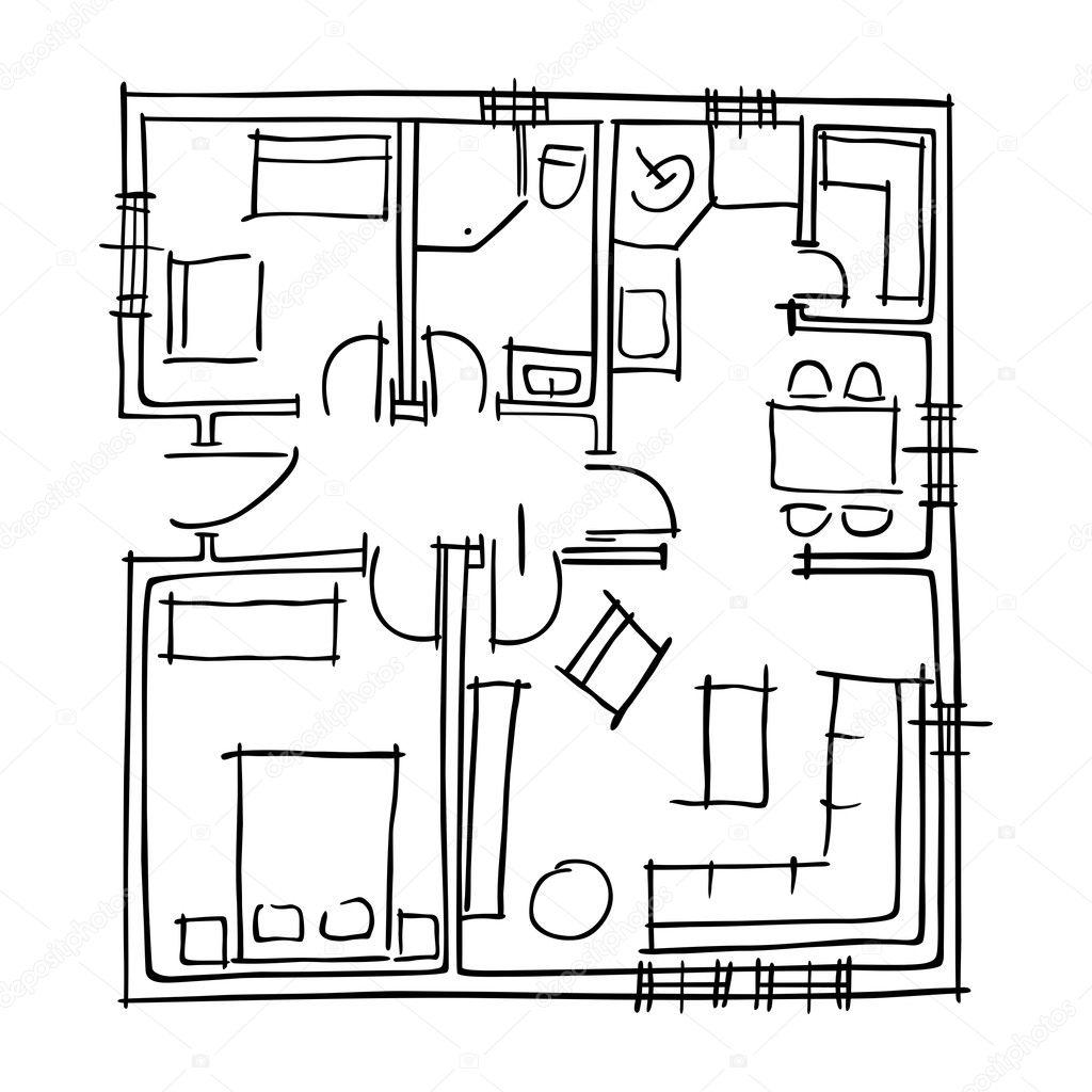 Ground Floor Blueprints Sketch Stock Vector