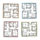 Sketchy set of ground floor blueprints — Stock Vector