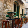 Chairs at the bar in the old town Budva — Stock Photo