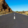 Stock Photo: Road in the frozen lava in the crater of a volcano Teide on a sunny day