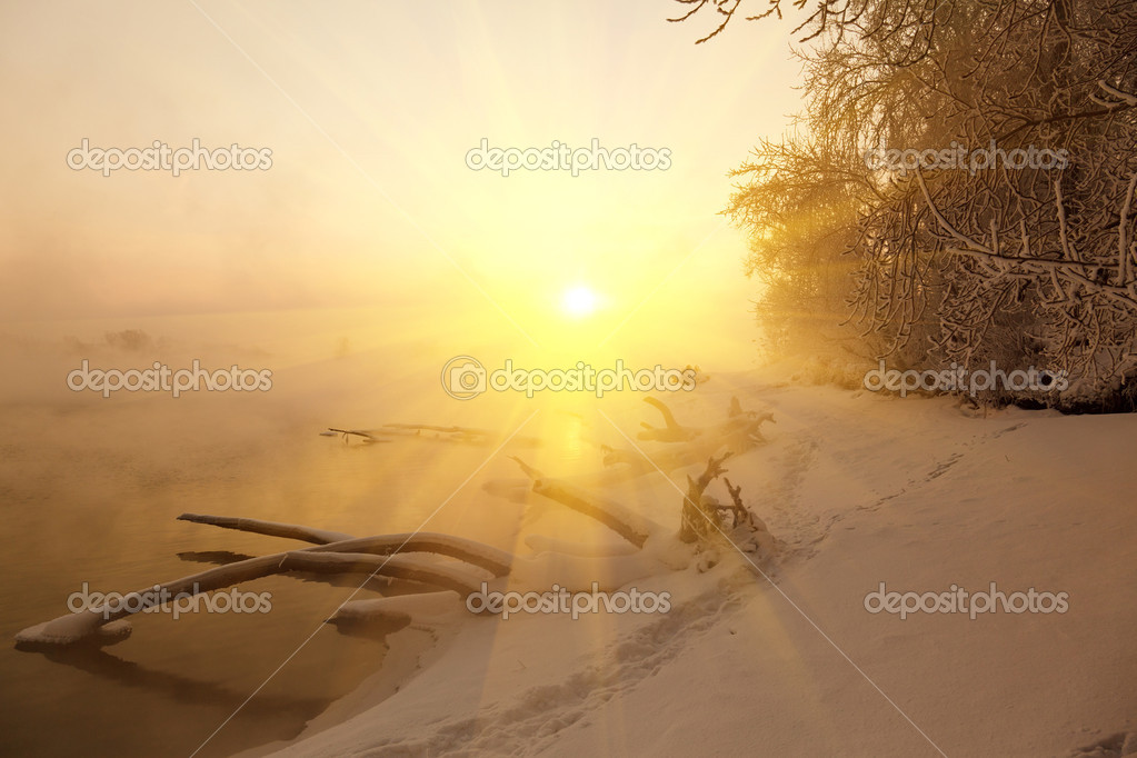 Winter dawn and the mist on the Moscow River  Stock Photo #9626392