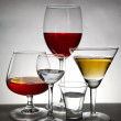 Stemware on gray background — Stock Photo