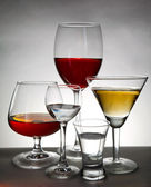 Stemware on gray background — Foto Stock
