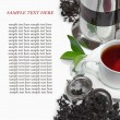 Stock Photo: Black iron asiteapot with sprigs of mint for tea