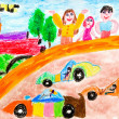 Creativity of preschool children drawing vehicle — Stock Photo