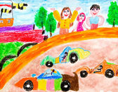Creativity of preschool children drawing vehicle — Stock Photo
