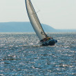 Stock Photo: Yacht participating in regatta