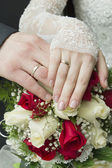 Hands of the newlyweds with rings — Stock Photo