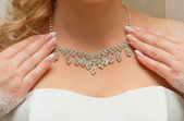 Necklace on her breast bride — Stock Photo