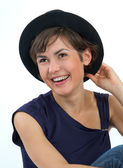 Young girl in a hat — Stock Photo