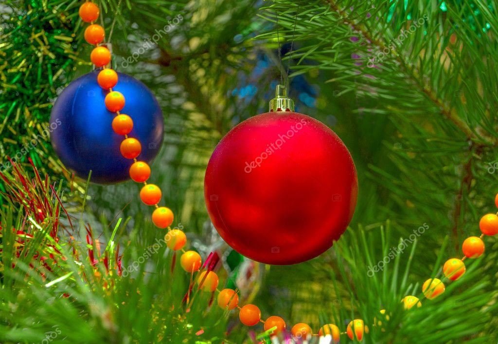 Christmas-tree decorations on a christmas fur-tree — Stockfoto #8555409