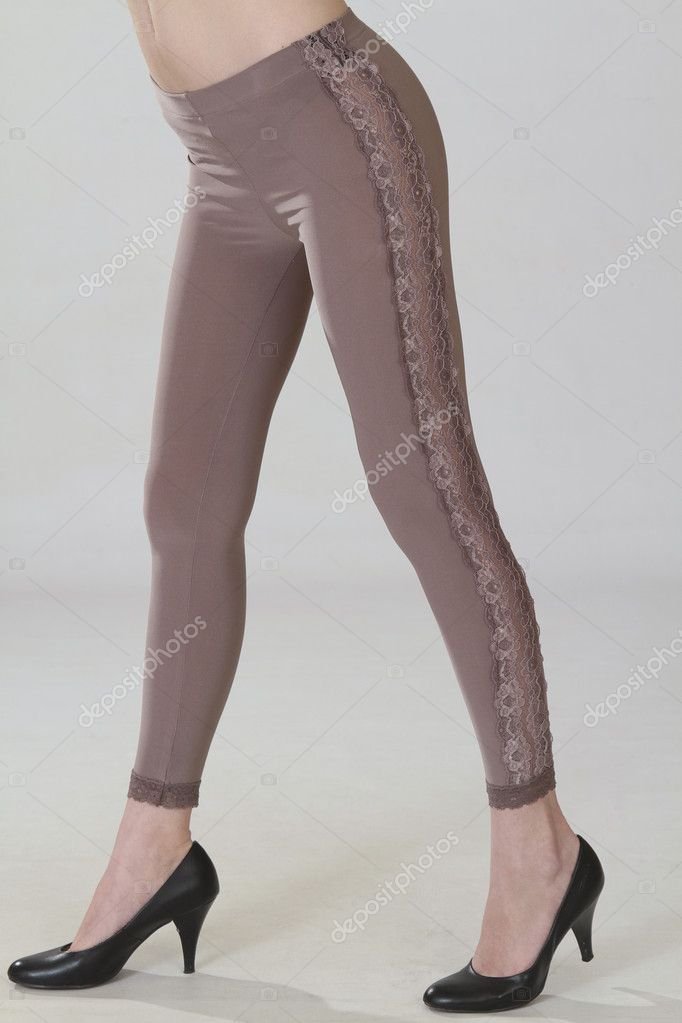 Women's thick tights with a pattern on the sides  Stock Photo #9044284