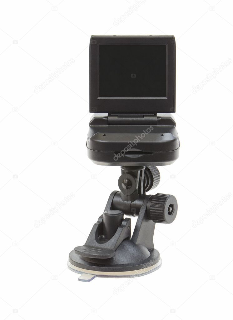 Car video recorder in black on the suction cup to the glass — Stock Photo #9876363