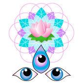 Third eye - Flower of life — Stock Vector