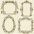 Stock Vector: Set of vintage frames with floral ornament