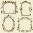 Set of vintage frames with floral ornament - Stock Vector