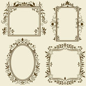 Set of vintage frames with floral ornament — Stock Vector