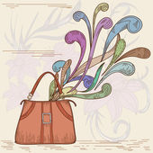 Woman bag with abstract element — Stock Vector