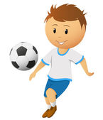 Cartoon footballer or soccer player play with ball — Stock Vector