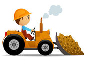 Cartoon bulldozer at construction work — Stock Vector