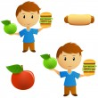 Set of young men with apple and hamburger choice — Stock Vector
