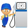 Serviceman with old fuel pump - Stock Vector