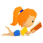 Pretty relaxed teenage girl reading book — Stock Vector