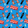Seamless pattern of London buildings and items - Imagen vectorial