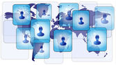 Several persons in social media network on world map — Stock Vector
