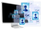 Computer with social media — Stock Vector