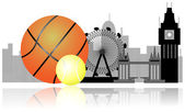 London skyline with tennis ball and basket ball. Sport in London — Stock Vector