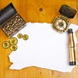 Pirate blank map with treasure, compass and binocular — Stock Photo