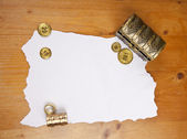 Pirate blank map with treasure, coins and ring — Stock Photo